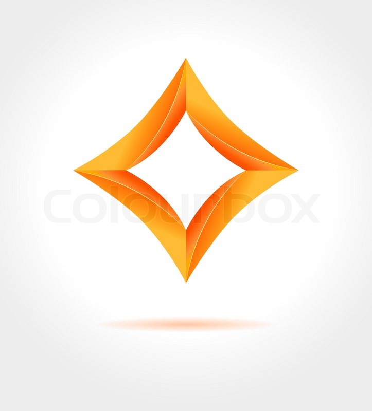 723x800 Abstract Business Design Template. Shine Orange 3d Rhombus On Gray