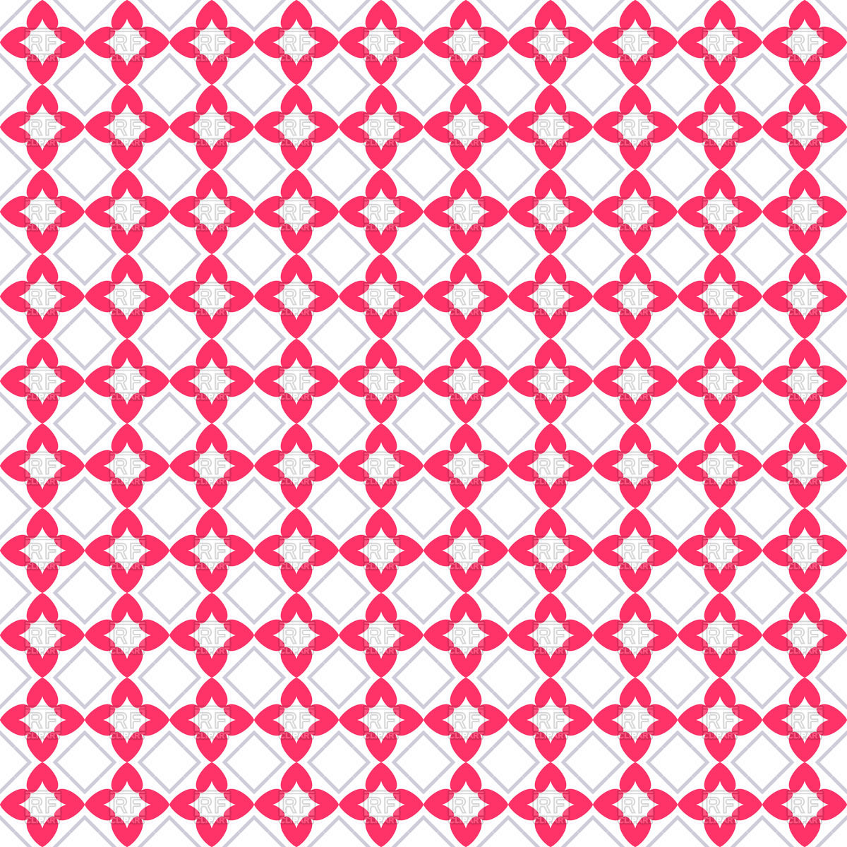 1200x1200 Pink Seamless Pattern With Flowers And Rhombus Vector Image