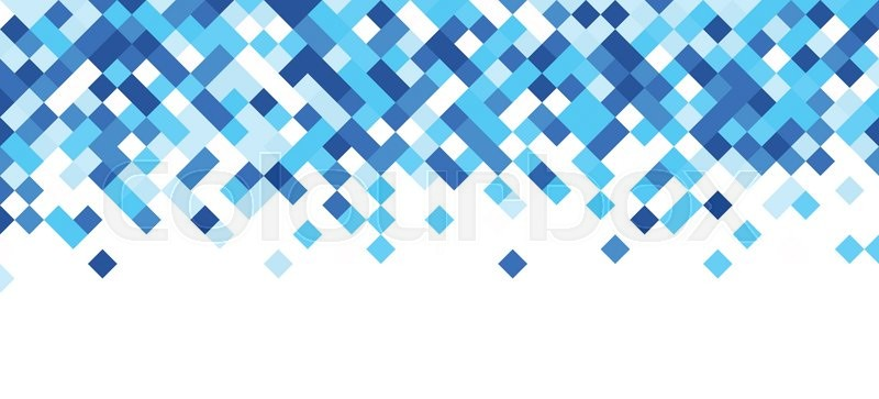 800x363 White Abstract Banner With Blue Rhombus. Vector Illustration