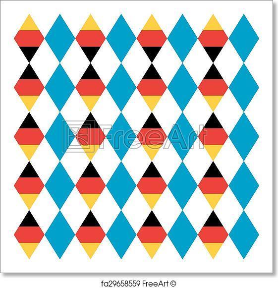 561x581 Free Art Print Of Oktoberfest Seamless Pattern Of Blue Rhombus