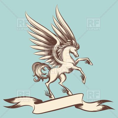 400x400 Hand Drawn Vintage Pegasus And Ribbon Banner Vector Image Vector
