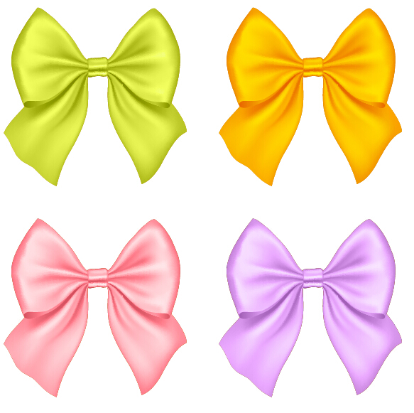 583x581 Beautiful Colored Bow Vectors Set 01 Free Download