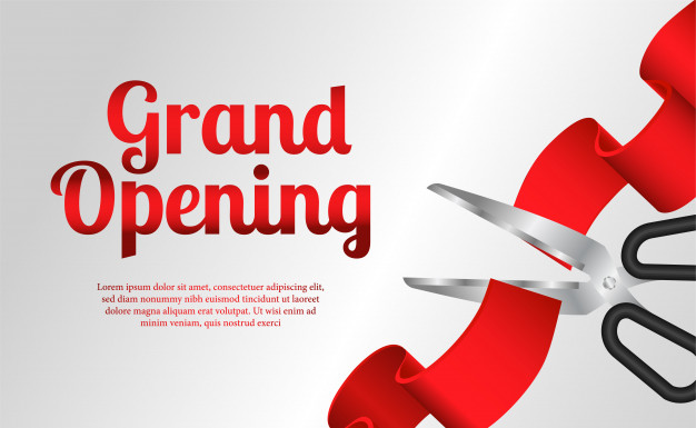 626x385 Grand Opening Template With Red Ribbon Cutting Vector Premium