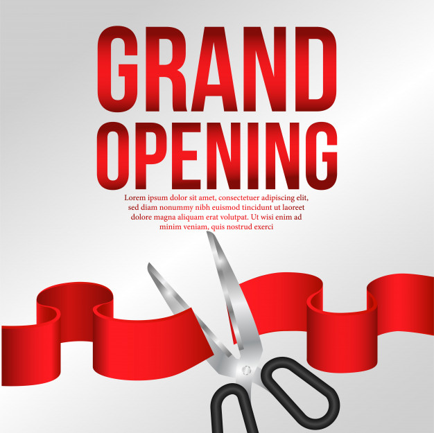 626x625 Grand Opening Poster Event With Red Ribbon Cutting Vector