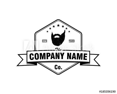 500x400 Hexagon Mustache Beard Man Face Style With Ribbon Illustration