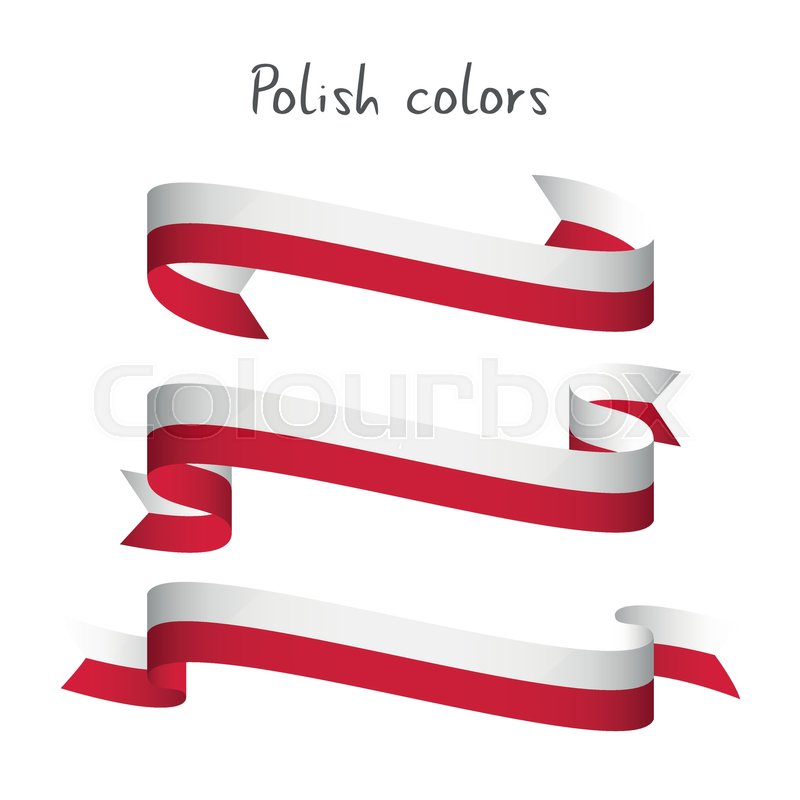 800x800 Set Of Three Modern Colored Vector Ribbon With The Polish Colors