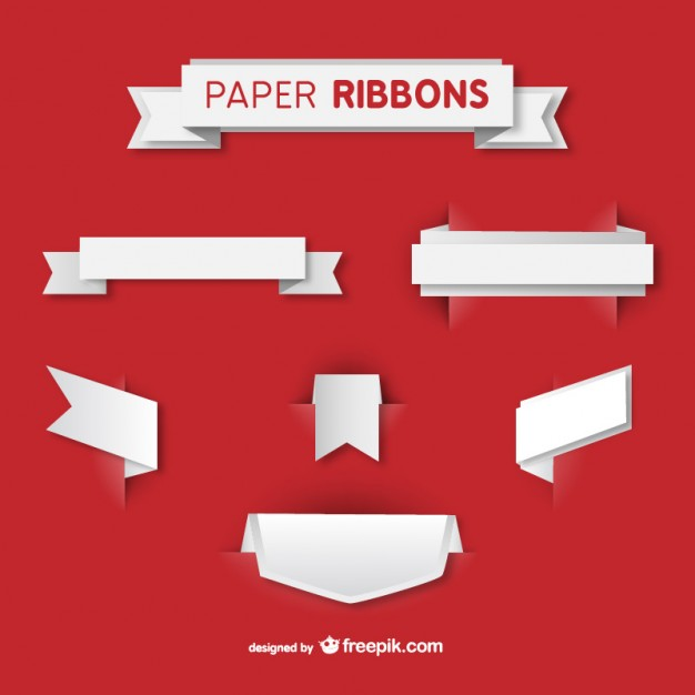 626x626 White Paper Ribbons Vector Free Download
