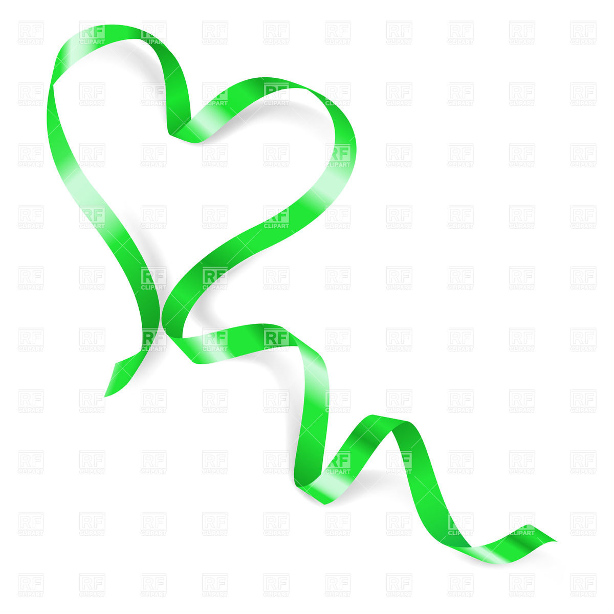 1200x1200 Heart Made Of Green Ribbon Vector Image Vector Artwork Of Design