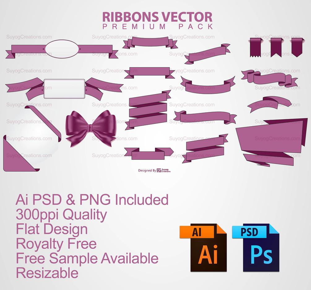 1005x937 Set Of Flat Ribbon Vectors Ai And Psd