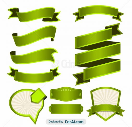 550x529 Set Of Green Ribbons Vector Free Download Cdr Ai Eps Files