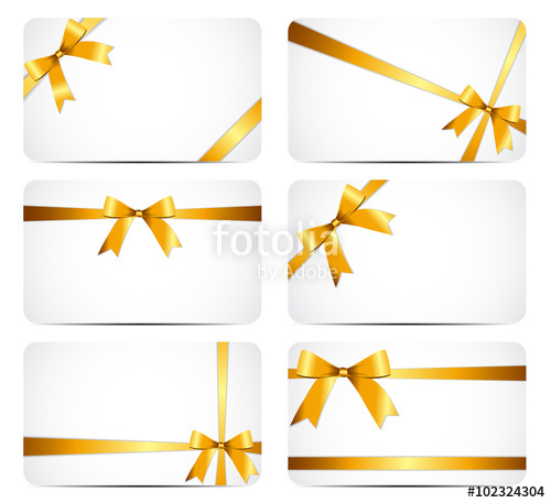 500x457 Gift Card With Gold Ribbon And Bow. Vector Illustration Stock