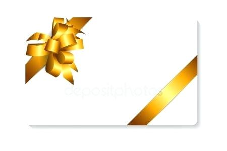 450x300 Holiday Gift Card Template With Gold Bow And Ribbon Vector