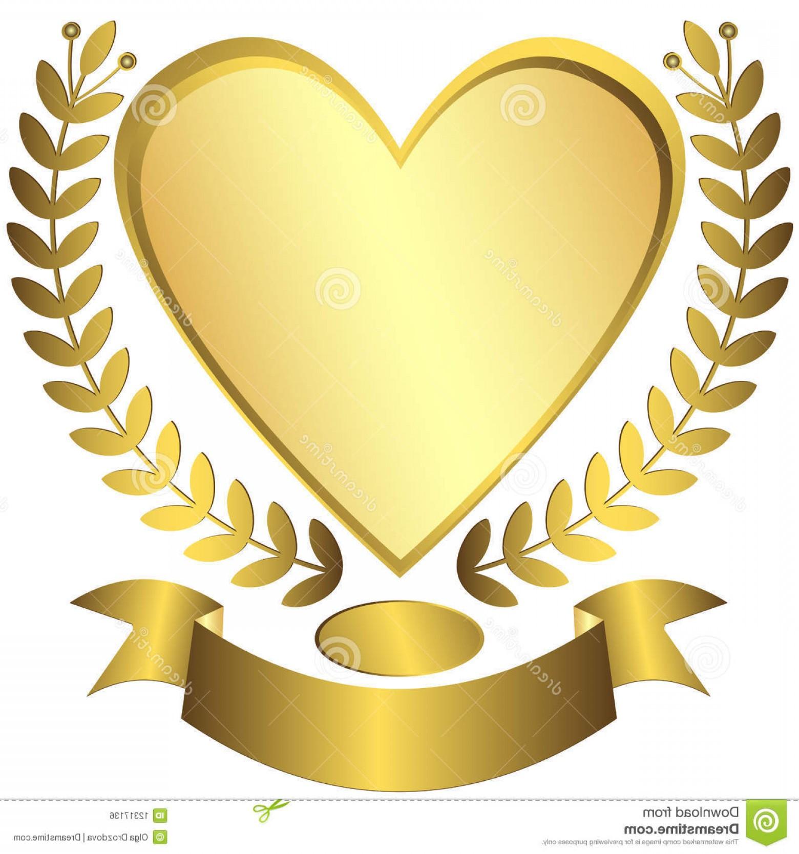 1560x1668 Royalty Free Stock Image Gold Award Heart Ribbon Vector Image