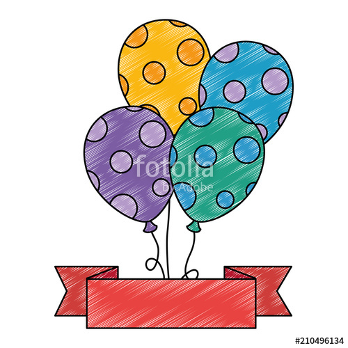 500x500 Balloons Helium Floating With Ribbon Vector Illustration Design