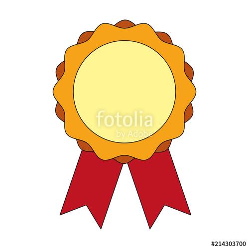 500x500 Medal Award With Ribbon Vector Illustration Design Stock Image