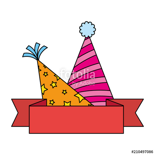500x500 Party Hats Celebration With Ribbon Vector Illustration Design