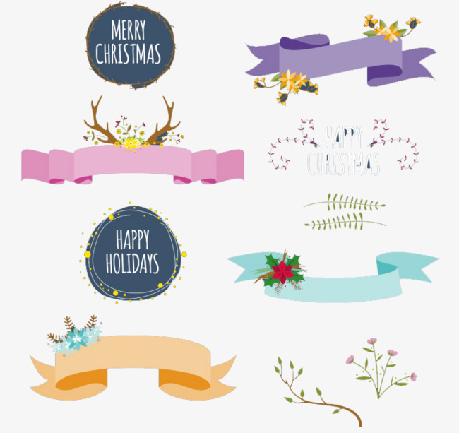 650x613 Christmas Wreath Decorated With Ribbon Vector Material, Christmas
