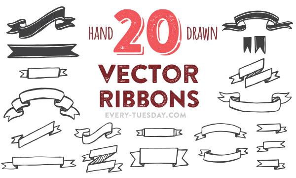 600x360 Freebie 20 Hand Drawn Vector Ribbons