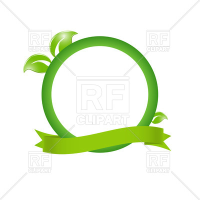 400x400 Green Eco Frame With Leaves And Ribbon Vector Image Vector