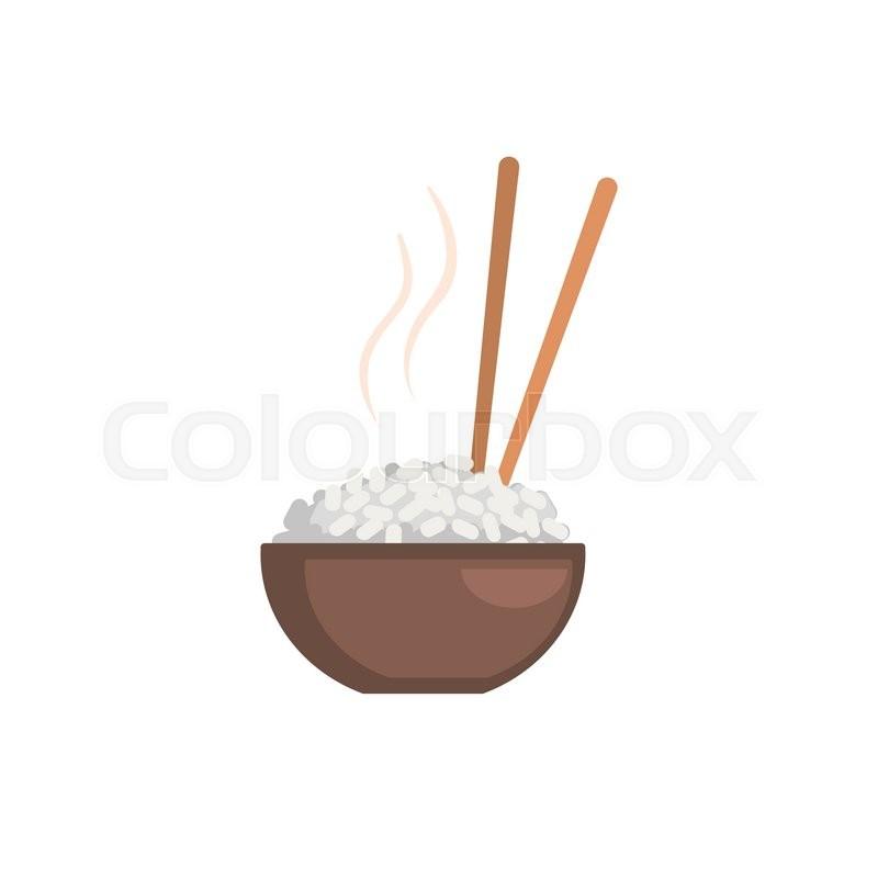 800x800 Rice Bowl Cartoon Style Flat Vector Illustration On White