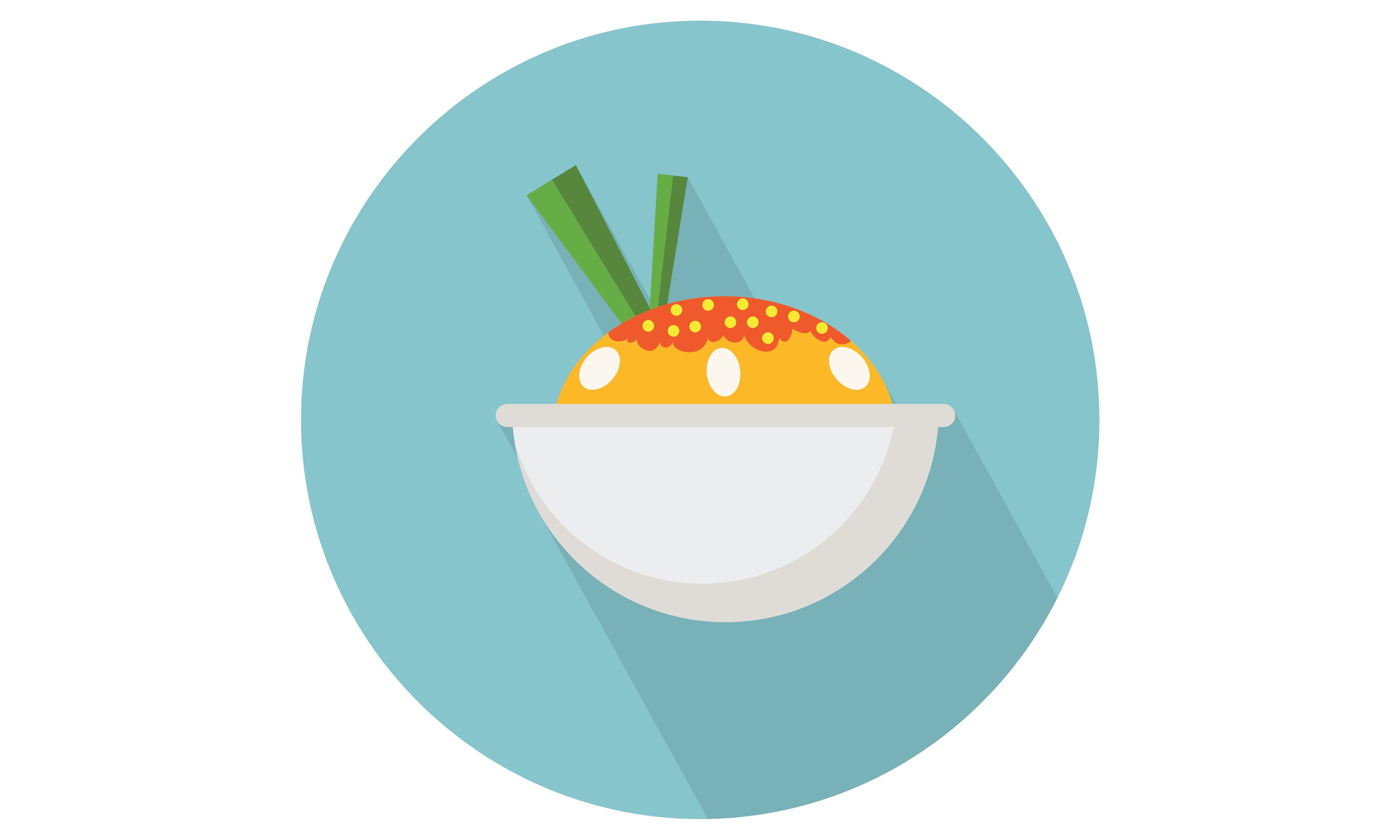 5000x3000 Rice Bowl Vector Flat Icons For Food Apps And Web.