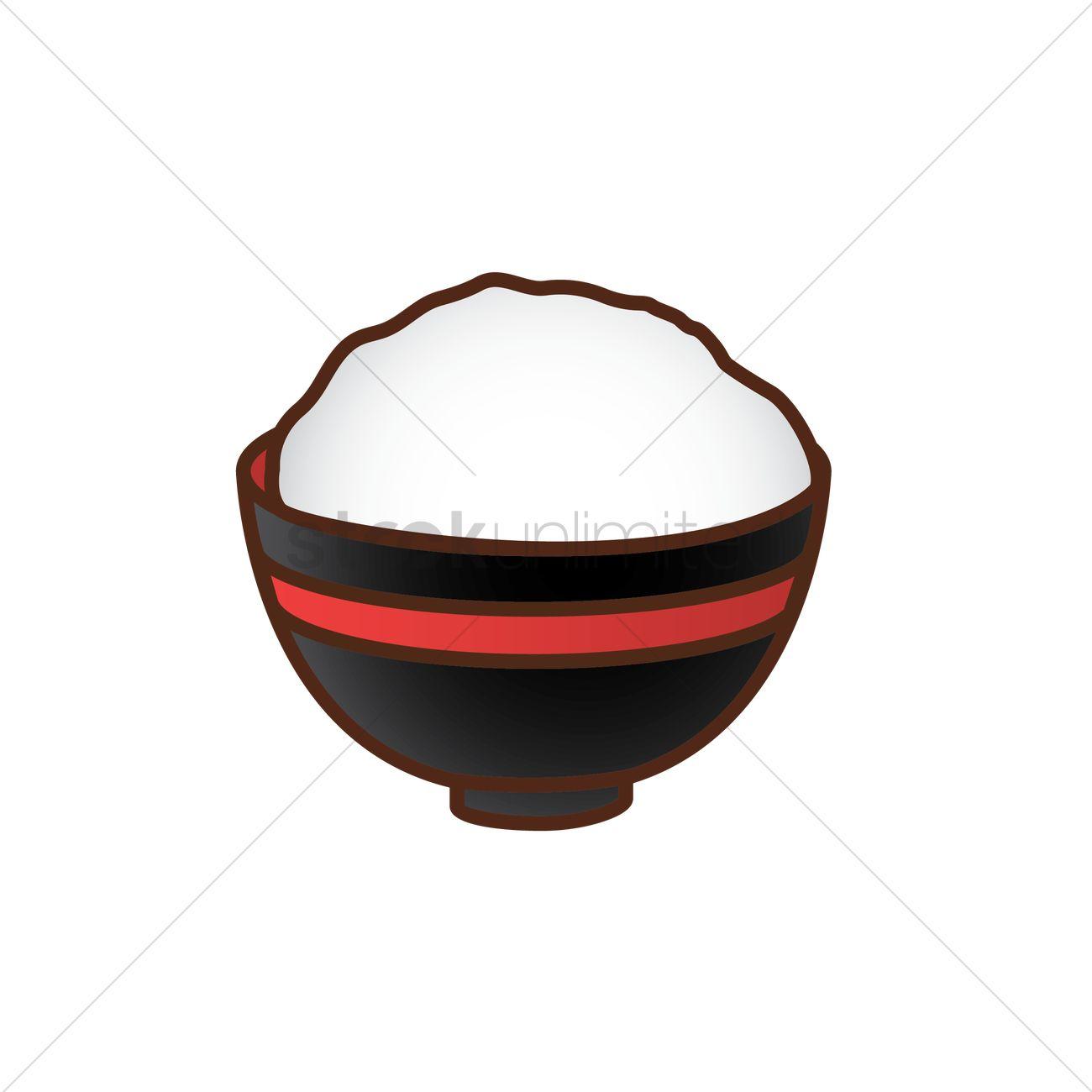 1300x1300 Rice Bowl Vector Image