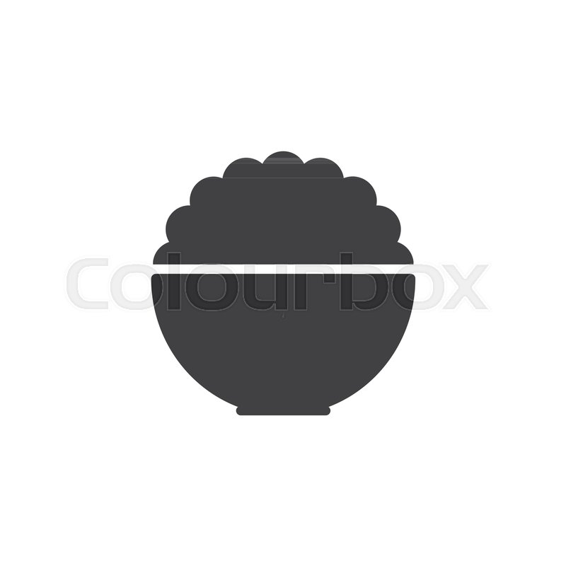 800x800 Rice Bowl Vector Icon. Filled Flat Sign For Mobile Concept And Web