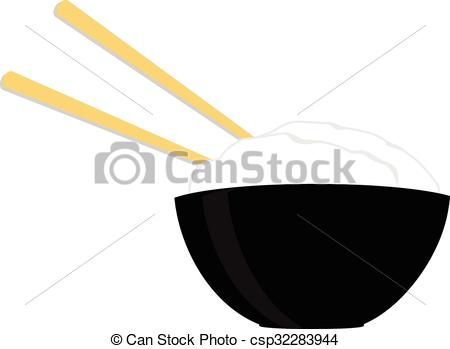 450x349 Rice Bowl With Two Chopsticks. Black Rice Bowl With Two Wooden