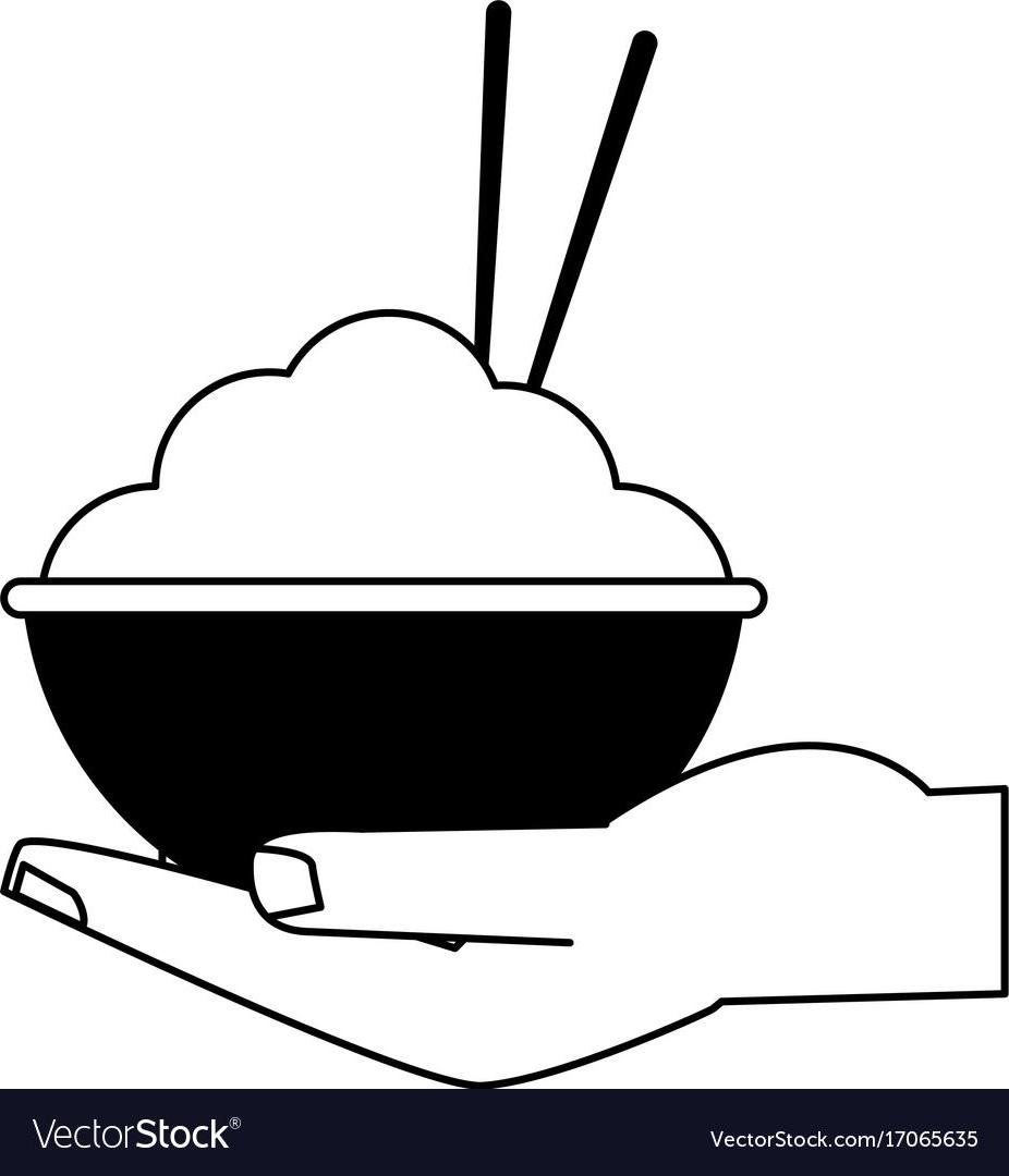 926x1080 Unique Hd Hand Holding Rice Bowl With Chopsticks Food Icon Vector