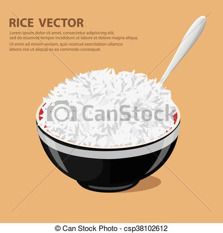 450x470 Vector Illustration Of A Rice Bowl Fork And Spoon. Flat Design