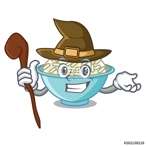 500x500 Witch Rice Bowl Mascot Cartoon Stock Image And Royalty Free