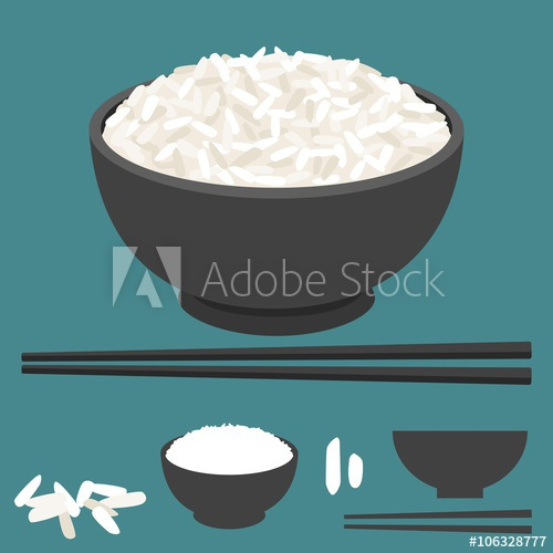 500x500 Rice Vector In Bowl With Chopsticks