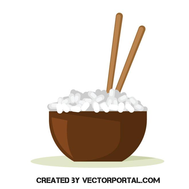 660x660 Bowl Of Rice Vector Image