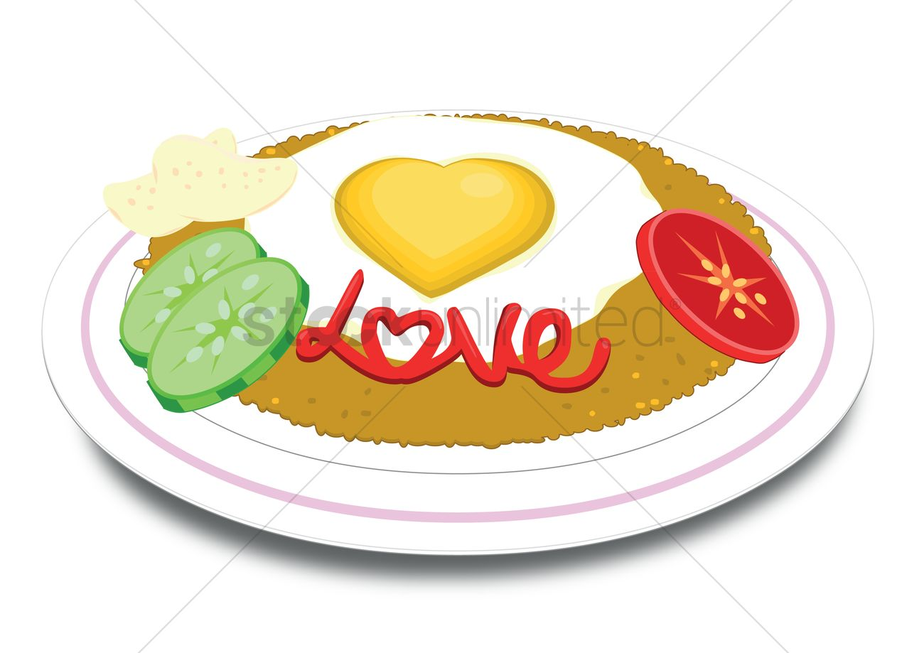 1300x919 Free A Plate Of Fried Rice Vector Image