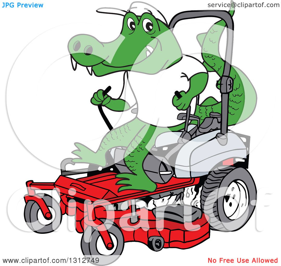 1080x1024 Clipart Of A Cartoon Alligator Operating A Red Riding Lawn Mower