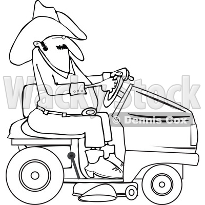 400x400 Clipart Of A Lineart Chubby Cowboy Riding A Red Lawn Mower