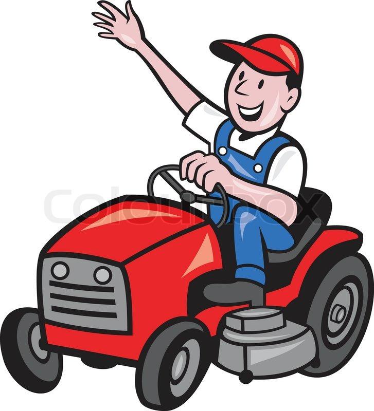 727x800 Farmer Driving Ride On Mower Tractor Stock Vector Colourbox