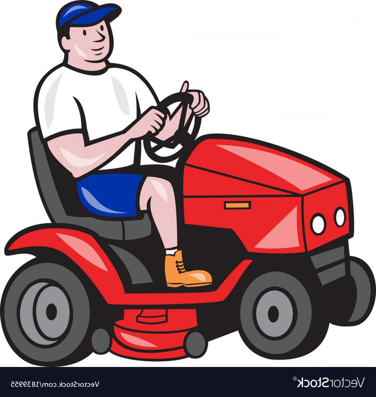 1200x1268 Gardener Mowing Rideon Lawn Mower Cartoon Vector Geekchicpro