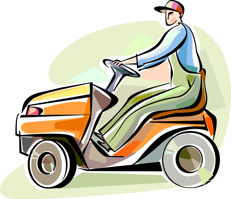 813x700 Lawn Care Worker With Riding Mower