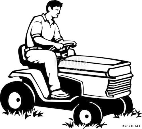 500x454 Riding Lawnmower Operator Vinyl Ready Vector Illustration Stock