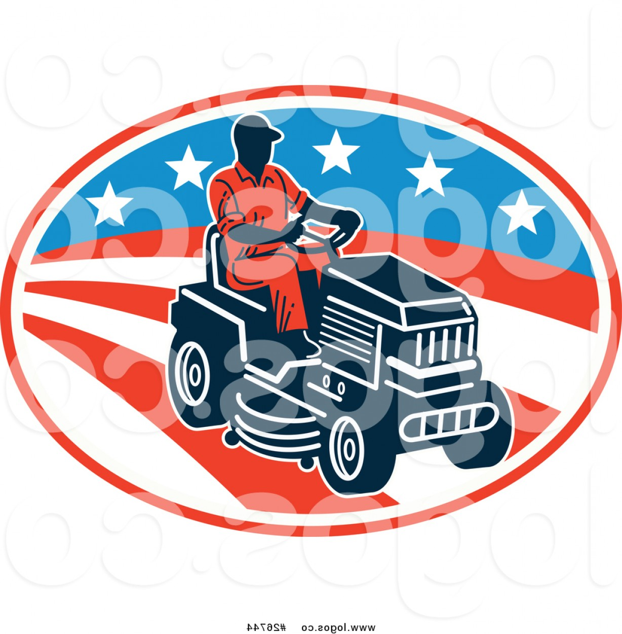1228x1252 Royalty Free Vector Logo Of An American Man On A Riding Lawn Mower