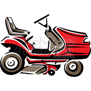 300x300 Royalty Free Red Riding Lawnmower 384993 Vector Clip Art Image