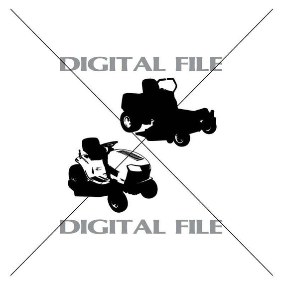 570x570 Two Riding Lawn Mowers Vector Images Vinyl Decal T Shirt Etsy