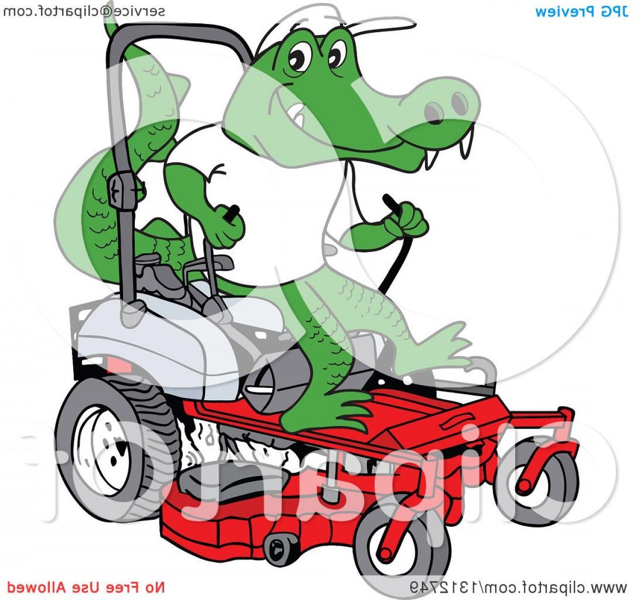 1296x1228 Cartoon Alligator Operating A Red Riding Lawn Mower Shopatcloth