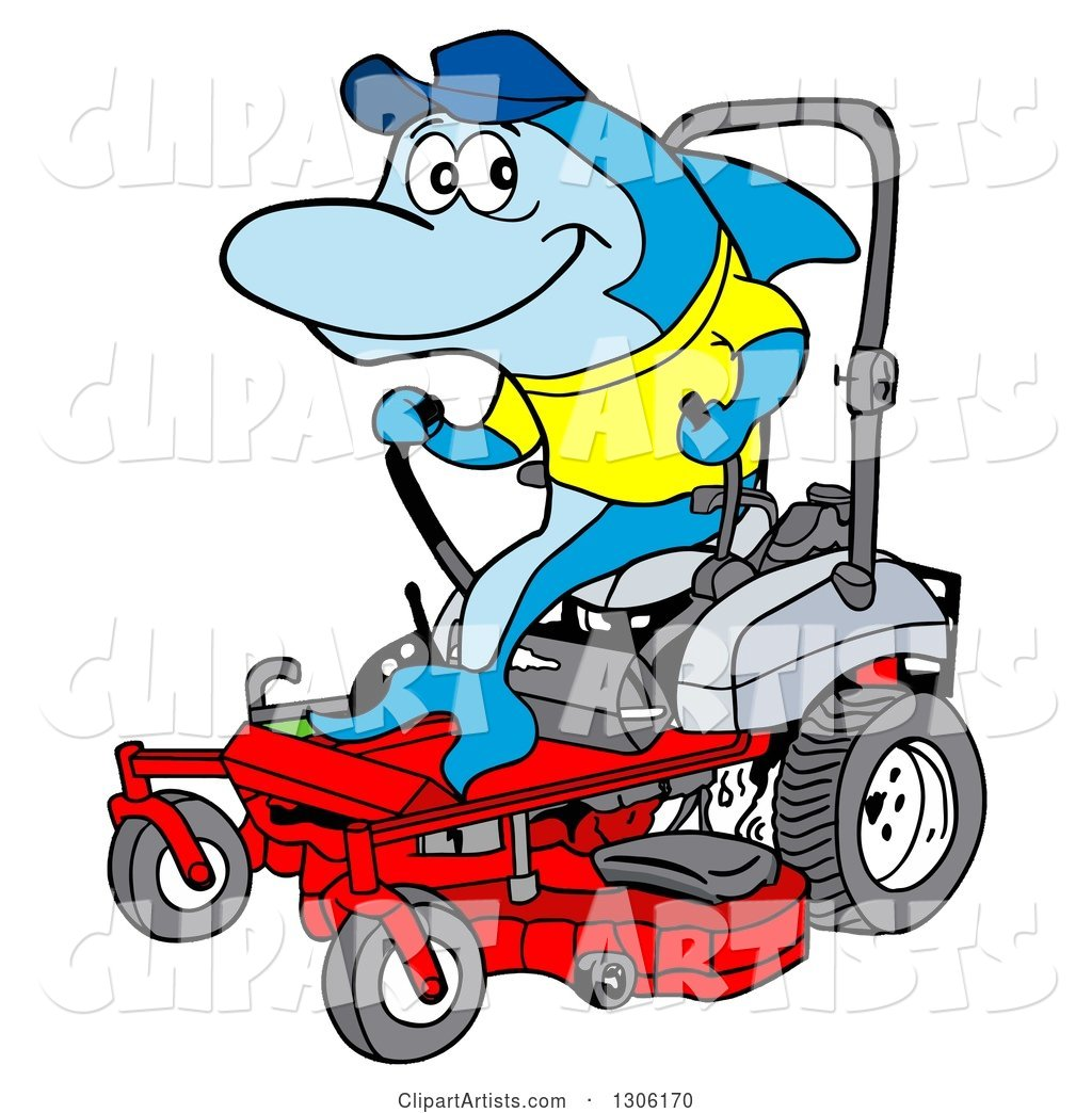 1024x1044 Cartoon Blue Shark Operating A Red Riding Lawn Mower Clipart By