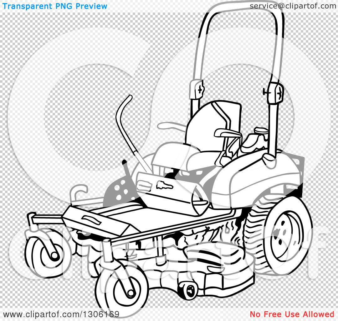 1080x1024 Clipart Of A Cartoon Black And White Ride On Lawn Mower Royalty
