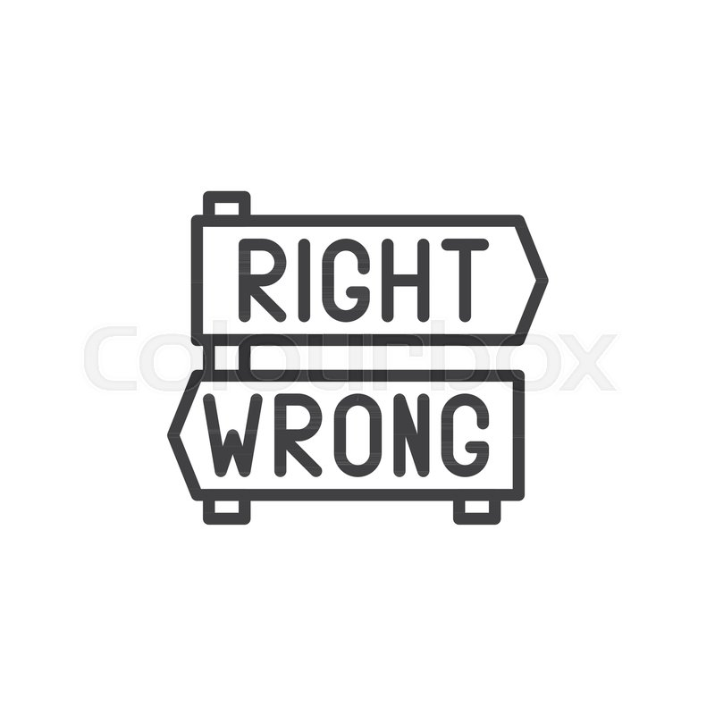800x800 Right And Wrong Decision Arrows Signs Outline Icon. Linear Style