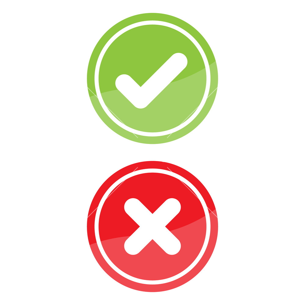 1000x1000 Check Mark And X Mark Right And Wrong. Vector Illustration