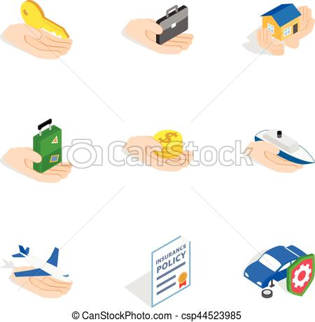 450x460 Risk Icons, Isometric 3d Style. Risk Icons Set. Isometric 3d