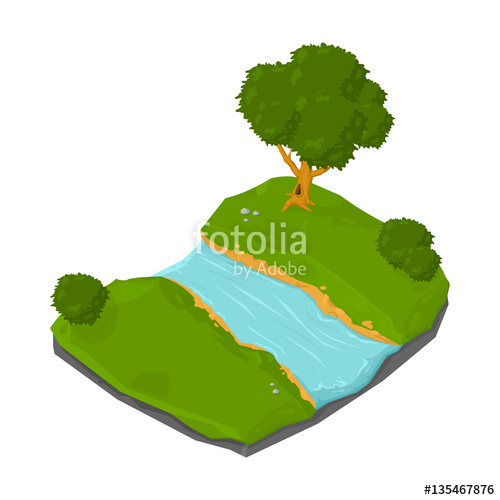 500x500 Isometric Natural Rural River Icon. Vector Illustration Of An